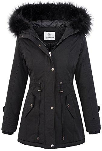 Damen Echtfell Winter Jacke Parka Kapuze Designer Damenjacke Outdoor D-204 XS-XL, Schwarz, S