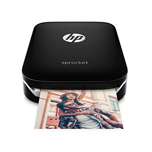 HP Sprocket Mobiler Fotodrucker (Drucken ohne Tinte, Bluetooth, 5 x 7,6 cm Ausdrucke) schwarz / silber