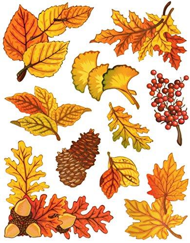 Fensterbilder Set 10-teilig - Herbst Blätter Ahorn Eiche Gingko Eicheln Zapfen Laub mit Glimmerelementen statisch selbsthaftend Fenstersticker Sticker Aufkleber