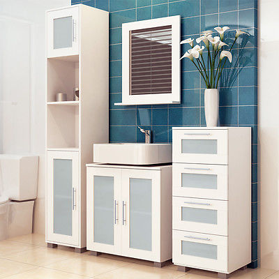 Badmöbel Set Badzimmer Hochschrank Waschbecken Unterschrank Bad Kommode weiß