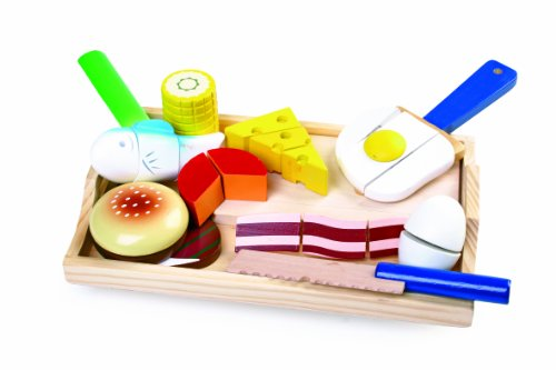 Small Foot by Legler Schneidespielzeug aus Holz, verschiedene Lebensmittel zum Zerteilen und Zusammenfügen, inkl. kleinem Brettchen, Tablett und Besteck