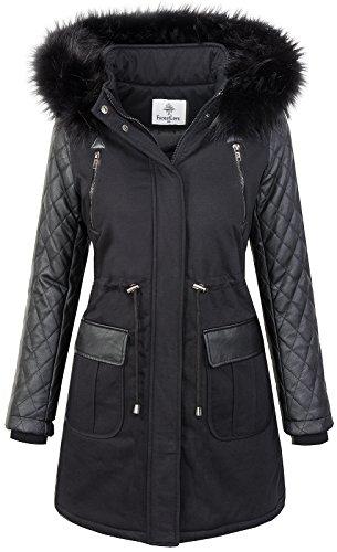 Damen Echtfell Winter Jacke Parka Kapuze Designer Damenjacke Outdoor D-204 XS-XL, Schwarz, M