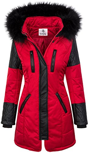 Damen Echtfell Winter Jacke Parka Kapuze Designer Damenjacke Outdoor D-204 XS-XL, Rot, XL