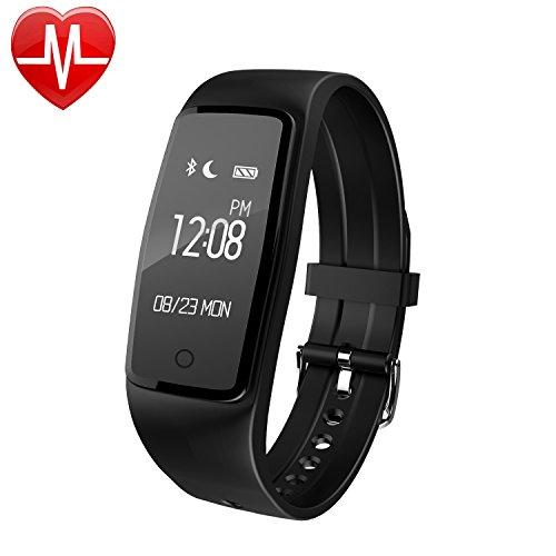 AsiaLONG Fitness Armband mit Pulsmesser - Wasserdicht Fitness Tracker Aktivitätstracker Schrittzähler Uhr Armband mit Herzfrequenz, Schlafanalyse, Kalorienzähler, SMS SNS Wecker Vibration für Android und IOS Handys wie iPhone, Huawei, Samsung, HTC, Sony,
