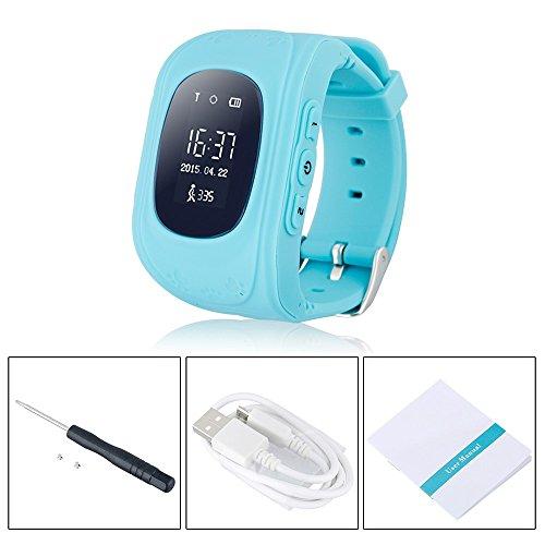 TKSTAR Kinder Smartwatch GPS Tracker Kinder-Armbanduhr Handy SIM Antiverlust SOS Armband Eltern Kontrolle durch iPhone IOS Android Smartphone(Blau)Q50