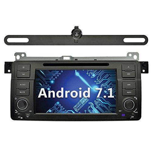 YINUO 7 Zoll 1 Din Android 7.1.1 Nougat 2GB RAM Quad Core Autoradio Moniceiver DVD GPS Navigation 1080P OEM Stecker Canbus Orange Farbe Tastenbeleuchtung für BMW 3 Series E46 1998-2001/ BMW 3 Series E46 2002-2006/ BMW M3 1998- 2006 Unterstützt DAB+ Blueto