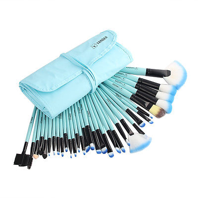 Hot 32tlg Professionelle Blau Makeup Brush Kosmetik Pinsel Schminkpinsel Set