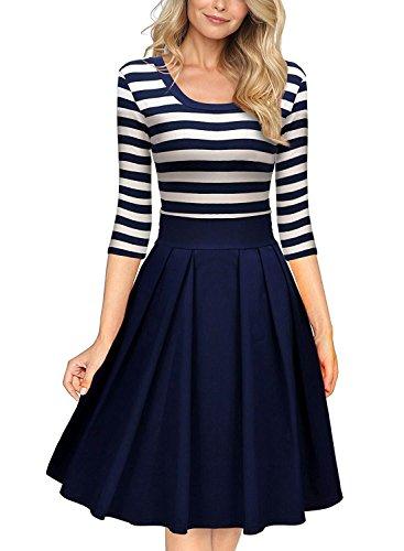 70ca87ae3619ab Damen Vintage Kleid 1950er Streifen Rund Ausschnitt 3/4 Arm Aendkleid Retro  Schwingen Pinup Rockabilly Kleid (40/L, Blau)