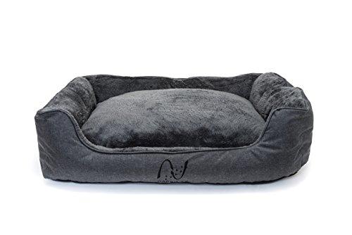 Waschbares Hundebett mit wendbarem Plüsch-Kissen   eckiges Hundekörbchen in grau   Tierbett für kleine und mittelgroße Hunde, Welpen oder Katzen   Happilax (Größe M, Grau)