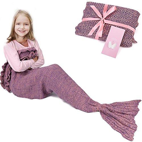 Meerjungfrau-Schwanz-Decke für Geburtstags-Geschenke, RUVALINO Süße Träume für Mädchen 3-12 Jährige, alle Jahreszeit-Schlafsack für Kinder 140 * 70 cm (Rosa)