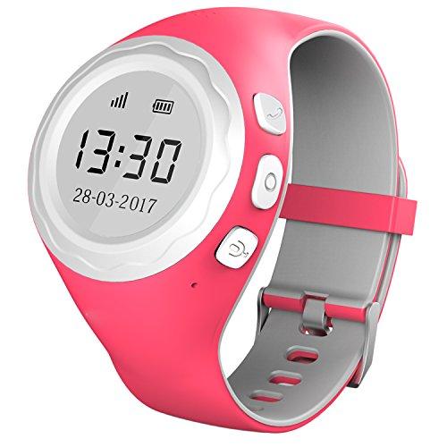 Pingonaut Kidswatch – Kinder GPS Telefon-Uhr, SOS Smartwatch mit Ortung, Tracker & Phone - Tracking App, Deutsche Software, Himbeerpink