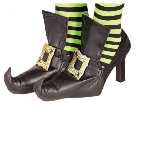 Witch Shoe Covers Fancy Dress Ladies Halloween Womens Adults Costume Accessory
