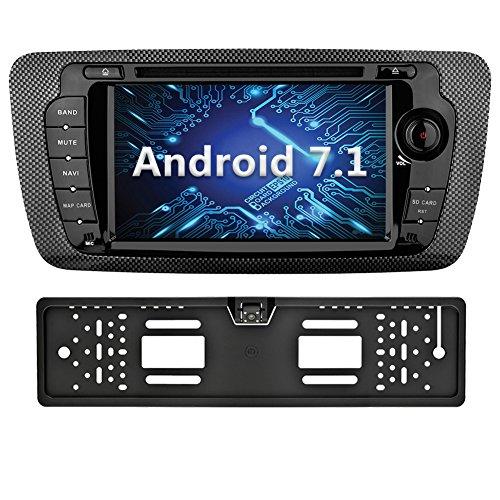 YINUO 7 Zoll 2 Din Android 7.1.1 Nougat 2GB RAM Quad Core Autoradio Moniceiver DVD GPS Navigation 1080P OEM Stecker Canbus 7 Farbe Tastenbeleuchtung für SEAT IBIZA 2009-2013 Unterstützt DAB+ Bluetooth OBD2 Wlan (Autoradio mit Kamera 4)