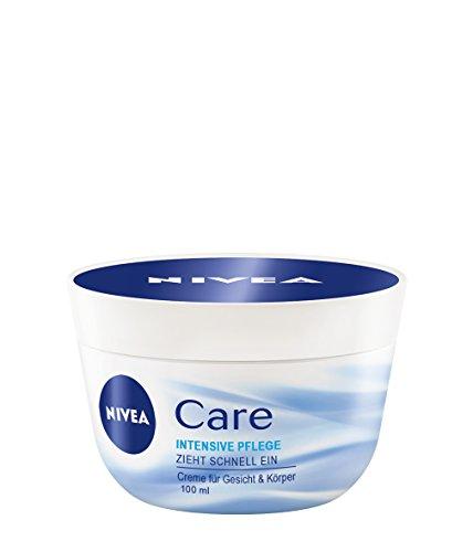NIVEA 4er Pack Creme für Körper & Gesicht, 4 x 100 ml Tiegel, Care Intensive Pflege