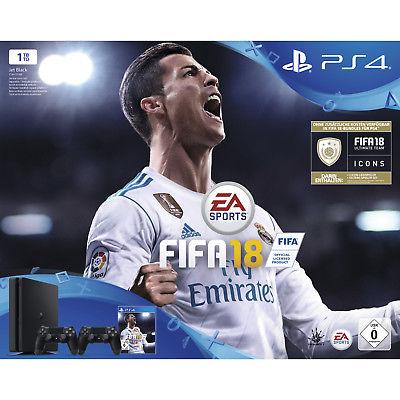 SONY PlayStation 4 1 TB Schwarz + FIFA 18 + 2. DualShock4 Controller + PS Plus 1