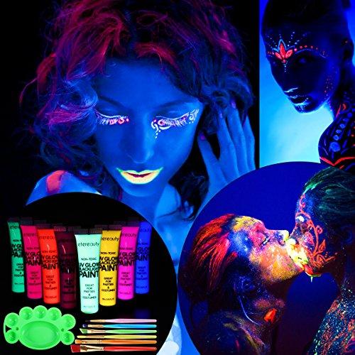 ETEREAUTY UV Bodypainting 8 x 28ml, Körperfarben Schwarzlicht ...