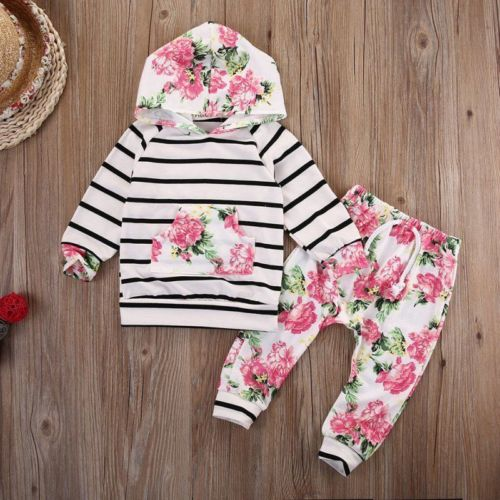 Neugeborene Baby Mädchen Kapuzenpullover Hose Outfits Kleidung Gr.62 68 74 80 86