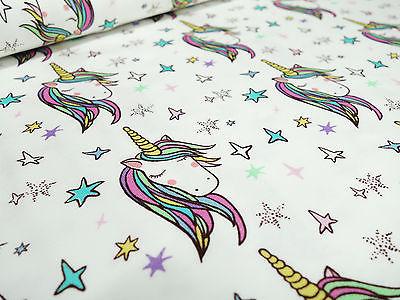 ? Stoff Baumwolle Jersey Einhorn Sterne Unicorn weiß Kinderstoffe ?
