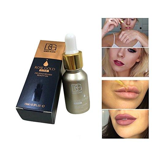 24k Rose Gold Elixir Oil, Hanyia Skin Make Up Beauty Essential Oil Before Primer Foundation Moisturizing Face Oil