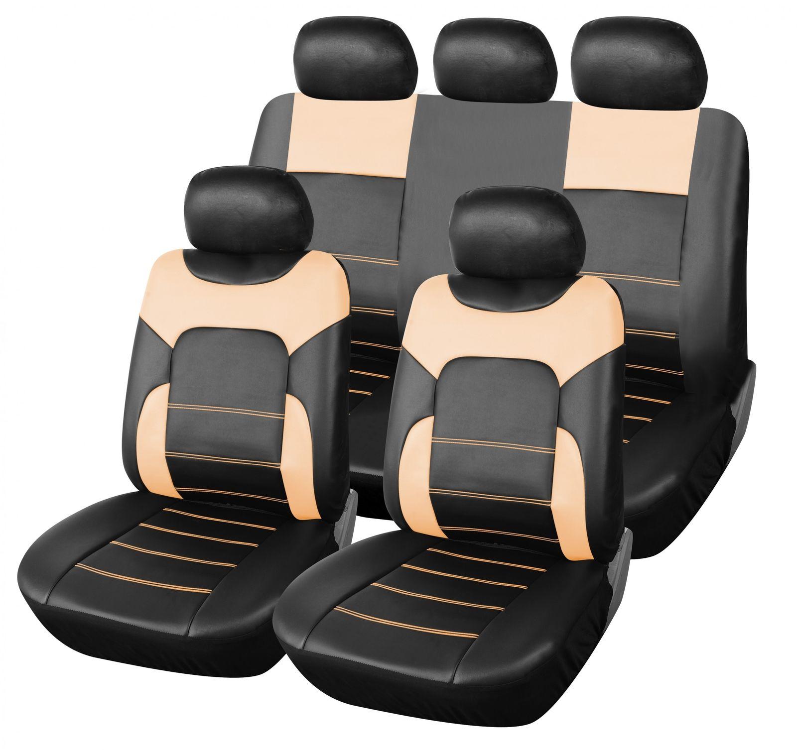 Auto Schonbezüge Kunstleder Sitzbezug Sitzbezüge Universal Schonbezug beige