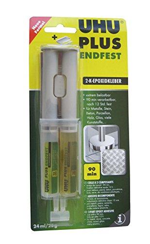 UHU 45585 - 2-Komponentenkleber, Doppelkammerspritze, Plus Endfest, 25 g / 24 ml