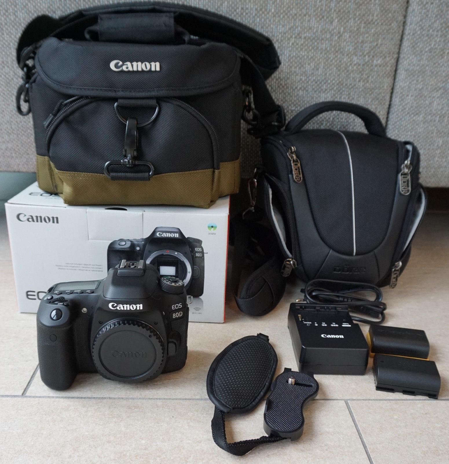 Canon SLR-Digitalkamera EOS 80D Body in schwarz APS-C 24MP + Zubehörpaket