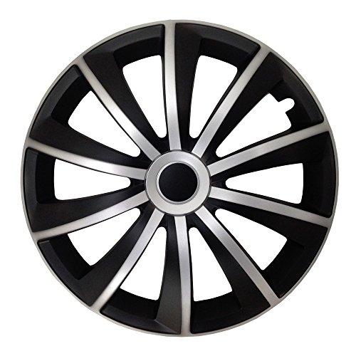 (Größe wählbar) 15 Zoll Radkappen / Radzierblenden GRAL MATT Schwarz/Silber passend für fast alle Fahrzeugtypen – universal