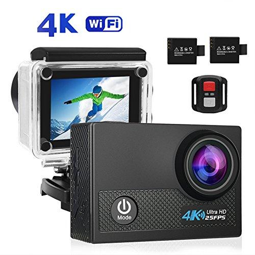 HD Action Cam, CrazyFire 4K Action Kamera WiFi Full HD Camera Sport Wasserdicht 30M, 170° Weitwinkel mit 2 Batterien 1050mAh 2.4G RF Remote und Kostenlose Accessoires