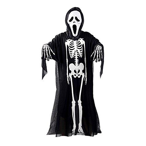 Eizur Halloween Schädel Skelett Kostüm Maske Handschuhe Set Maskerade Cosplay Requisiten Set Geist Kleidung Schreien Maske und Ghost Handschuhe für Kinder