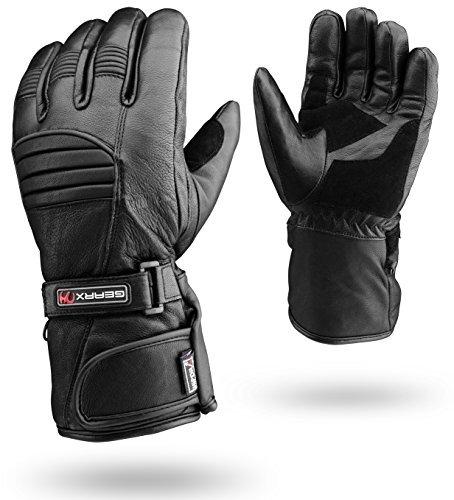Winter Leder Motorrad Handschuhe Reflektierendes Wasserfest Gepolstert Thermo - L