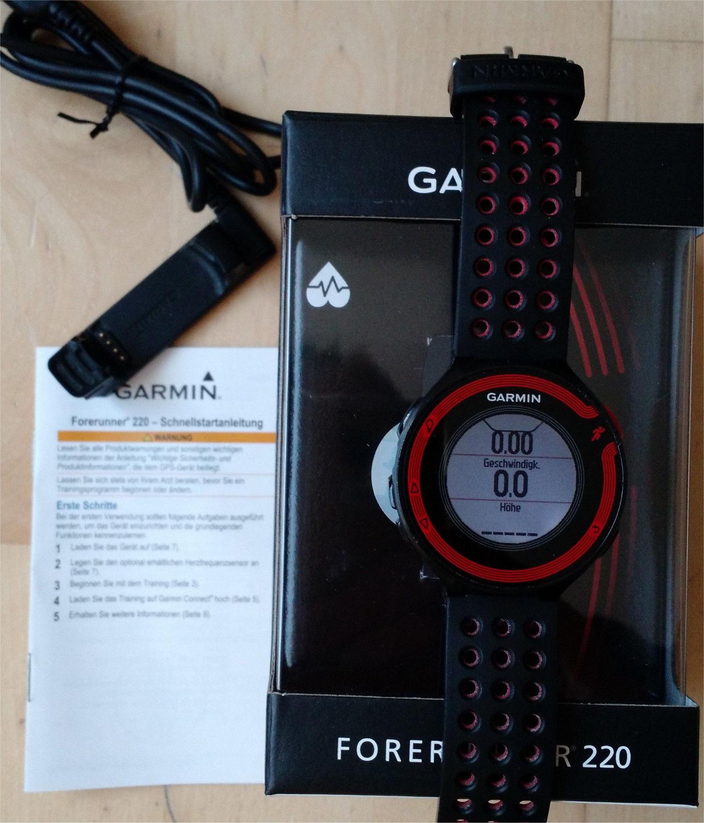 GPS-Uhr Garmin Forerunner 220, OVP, komplett, rot schwarz