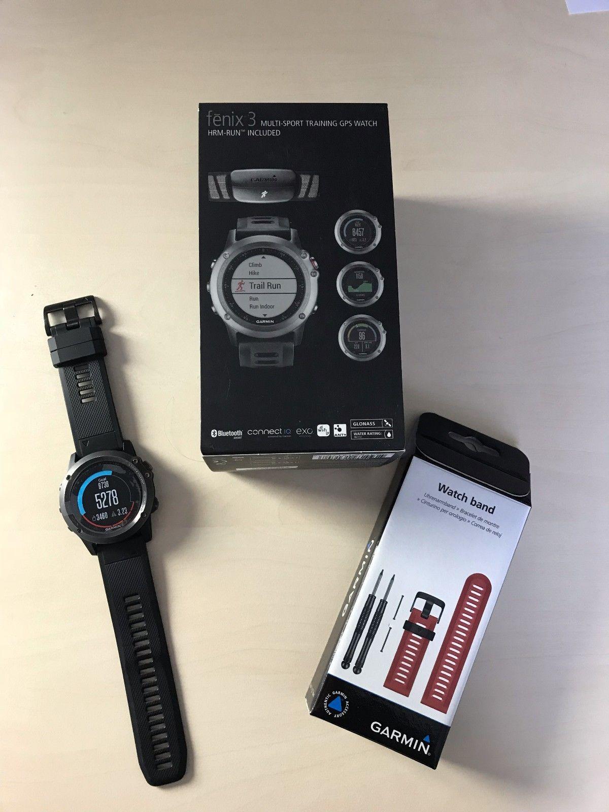 Garmin Fenix 3 Multisportuhr GPS inkl. QuickFit Armbänder in schwarz und rot