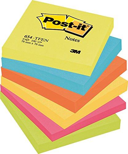 Post-it 654TFEN Haftnotiz Rainbow Notes (76 x 76 mm) 6 Block farbig sortiert