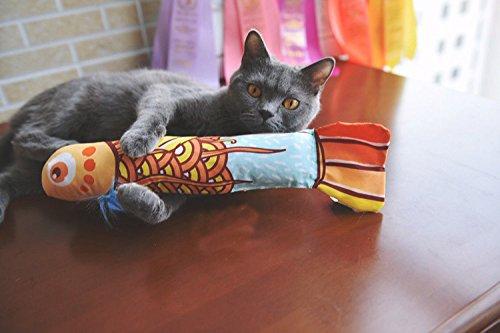 Katzenminze Katzenspielzeug,MAMACHU Katzen Interaktives Spielzeug Fischform Katze Kratz mit Catnip (Gold)