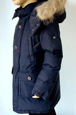 Eddie Pen * Daunen Jacke Mantel mit Waschbär Fell * 8 128 134 * blau *