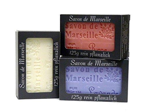 100% Naturseifen: Lavendelseife & Rosenseife & Maiglöckchenseife, 3-teiliges Seifenset (Savon de Marseille)
