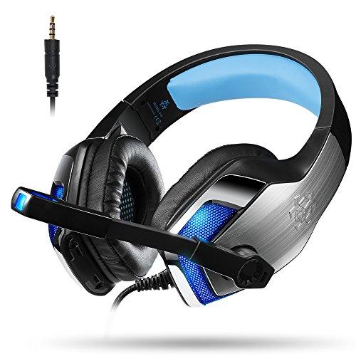 Headset Gaming Micolindun Mikrofon Kopfhörer Gamer Ultra Leicht Gemütlich Metallisch Basse Stereo Lautstärkeregler Rauschen Isolating für PS4, Xbox One, PC, Laptop, Tablet, Telefon (inkl. Adapter)