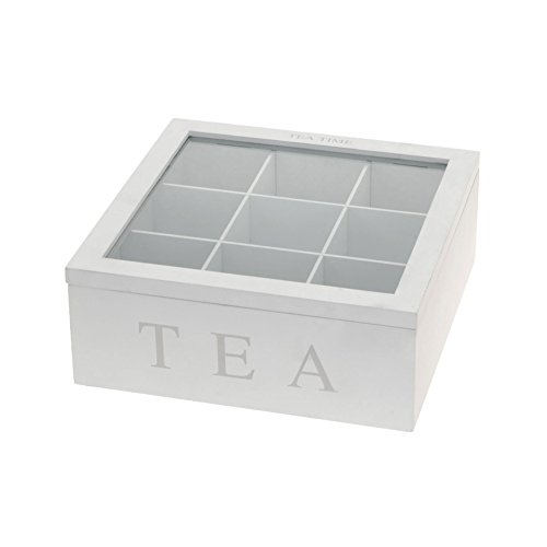 Teebox aus Holz | Teekasten in den Farben Weiß und Schwarz | Teekiste mit 6 Fächern oder als große Teebeutelbox mit 9 Fächern , Auswahl:Weiß mit 9 Fächern