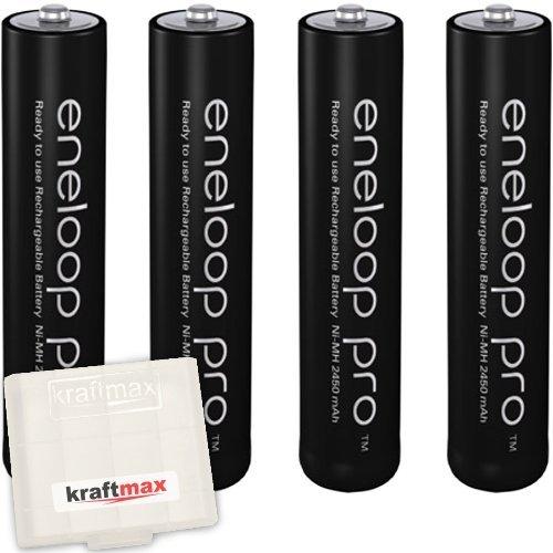 Kraftmax 4er-Pack Panasonic Eneloop PRO XX AAA / Micro Akkus - Neueste Generation - 950 mAh Hochleistungs Akku Batterien in Kraftmax Akkubox V5, 4er Pack