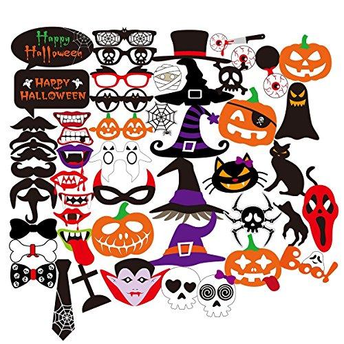 PBPBOX Halloween Photo Booth 52 Teile DIY Set Lustige Foto Booth Requisiten