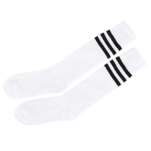 Alt Schule Knie hoch sportlich Sport Rohr Socke (Schwarz auf Weiß)