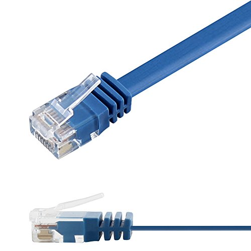 Ligawo 1014154.0 Patchkabel Netzwerkkabel Cat6 Flexibel Slim Design Flachkabel (3m) blau