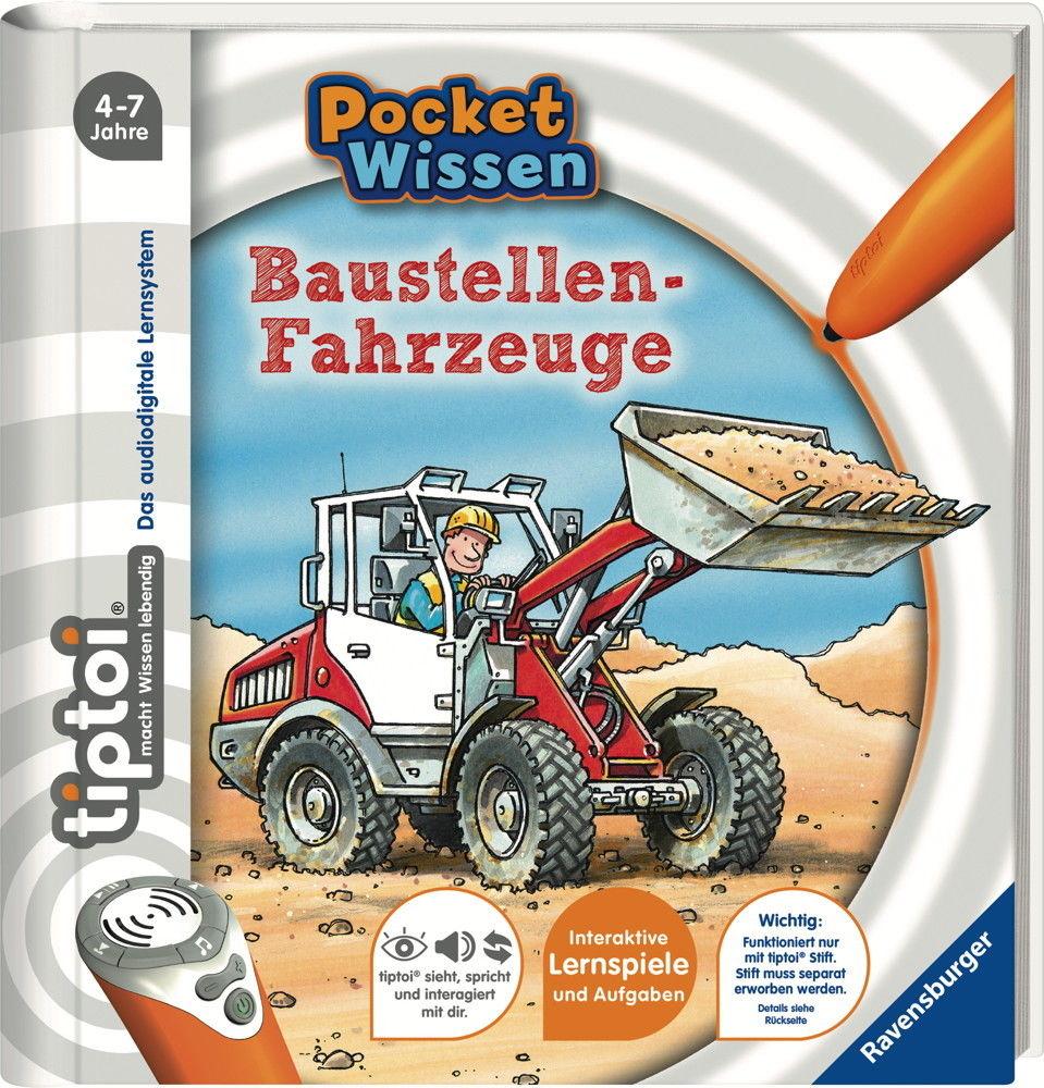 Ravensburger tiptoi Buch Pocket Wissen Baustellenfahrzeuge 00682