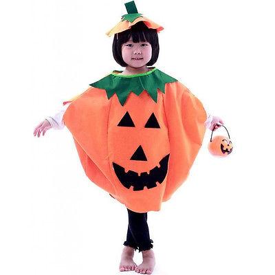 Jungen Mädchen Kinder Kostüm Kürbis Halloween Party Pumpkin Kleid Cosplay aus DE
