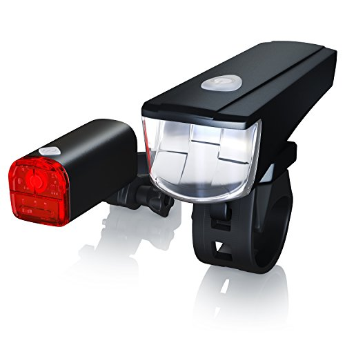 CSL - LED Fahrradbeleuchtung Set StVZO zugelassen | Modell DG310 | Fahrradlicht / Fahrradlampe / Fahrradleuchte | inkl. Front- und Rücklicht | 1x Lichtstärke-Modus | energiesparend | stoßfest
