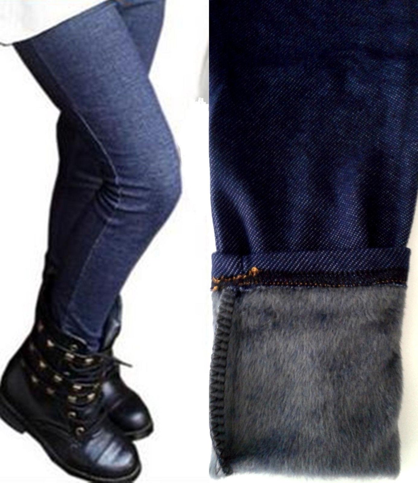 Kinder Winter Leggings Jeggings Winterleggings Thermo Mädchen Jeans Gefüttert