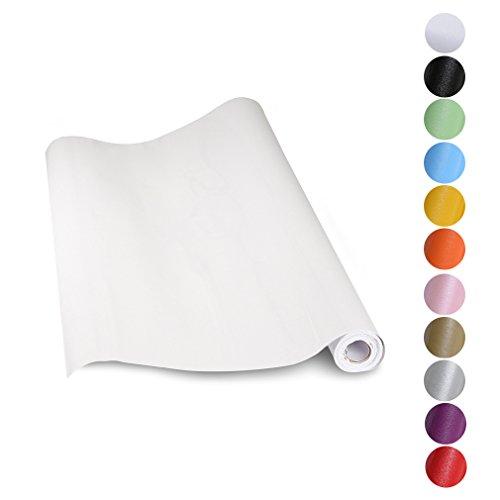 KINLO® aufkleber küchenschränke Weiß 61x500cm aus hochwertigem PVC tapeten küche klebefolie Möbel Wasserfest aufkleber für schrank selbstklebende folie Küchenschrank küchenfolie Dekofolie 2 Jahren Garantie