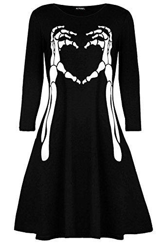 Oops Outlet Damen Halloween Kostüm Skelett Knochen Herz Kittel Swing Minikleid - Schwarz, M/L (UK 12/14)