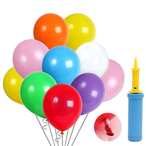 KALMI 100 luftballons und Ballon-Klipp und 1 Ballonpumpe, luftballons mit pumpe, Luftballon, Partyballon, Farbige Ballons, Bunte Ballons für Geburtstagsfeiern, Party, Hochzeitsfeiern (blau Pumpe) (Mehrfarbig)