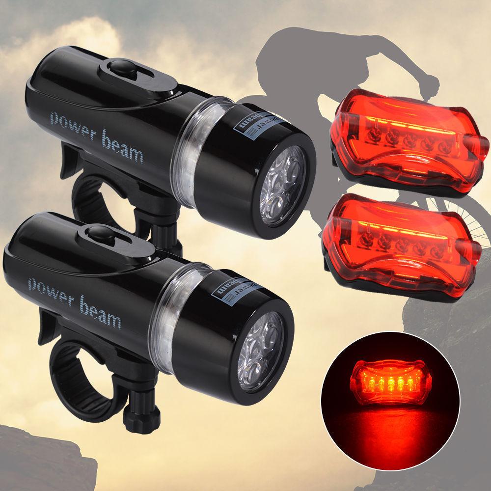2x 5 LED Fahrradbeleuchtung Set Fahrradlampe Fahrradlicht Fahrradleuchte